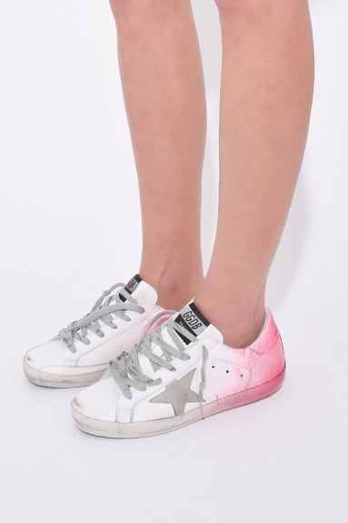 Superstar Sneakers in White/Pink Spray