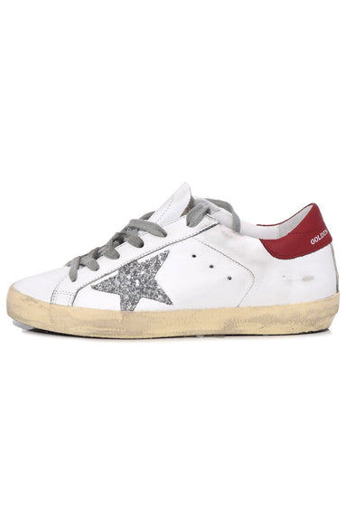 Superstar Sneakers in White/Red/Silver Glitter Star