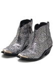Young Boot in Silver/Black Glitter