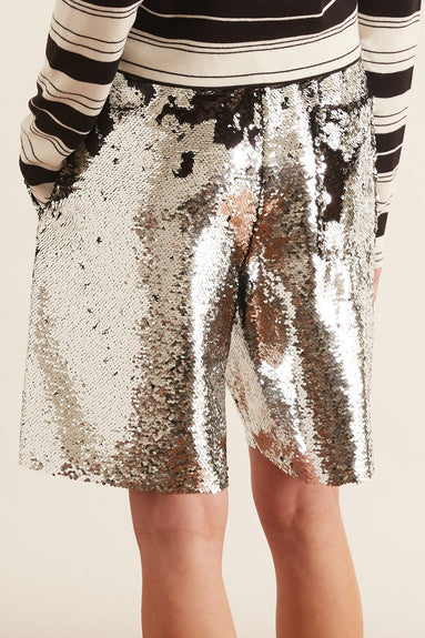 Alyssa Shorts in Silver/Black Paillettes