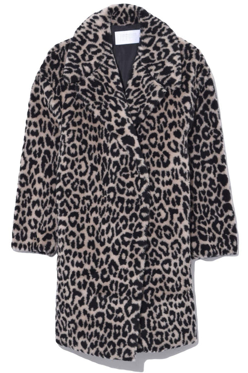 Leopard Dropped Shoulder Teddy Coat in Black