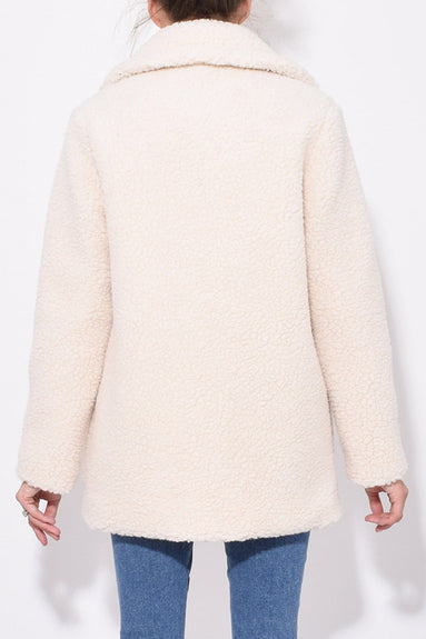 Shearling Shirt Collar Jacket in Off White