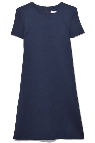 Short Sleeve Canvas Shift Dress in Navy Blue