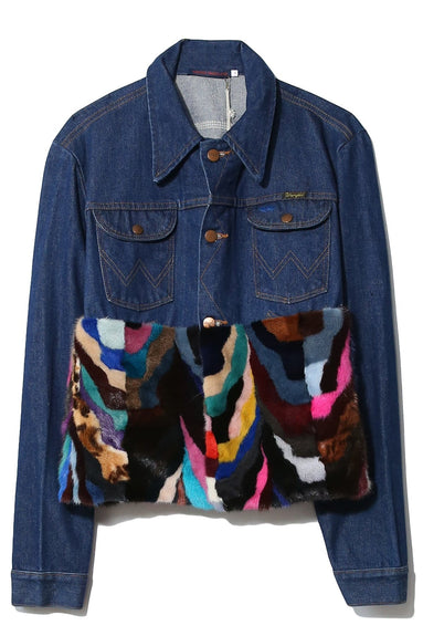 Vintage Denim Jacket with Fur in Denim