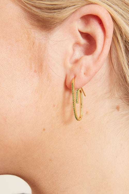 Classic Pave Paperclip Earring in Green