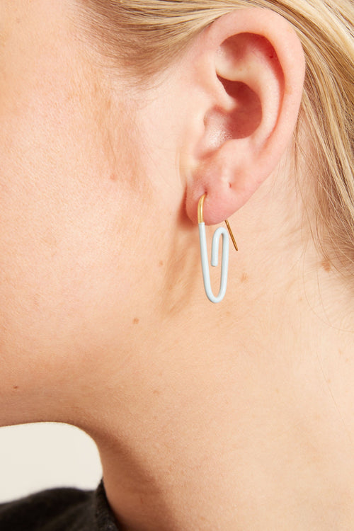 Enamel Paperclip Earring in Light Blue