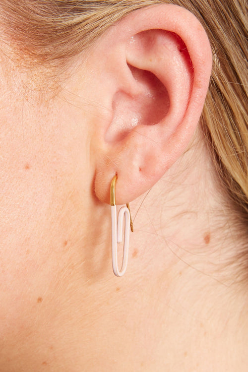 Enamel Paperclip Earring in Light Pink