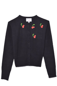 Laura Embroidery Cardigan in Black Cherry