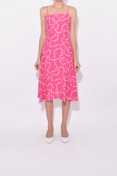 Nora Bias Dress in Hot Pink String of Hearts