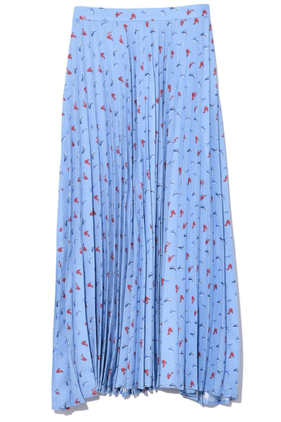 Tracy Pleated Skirt in Blue High Heel