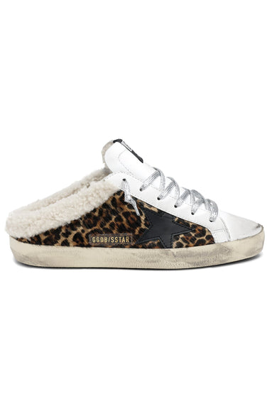 Sabot Horsy Sneaker in White/Brown Leo/Black