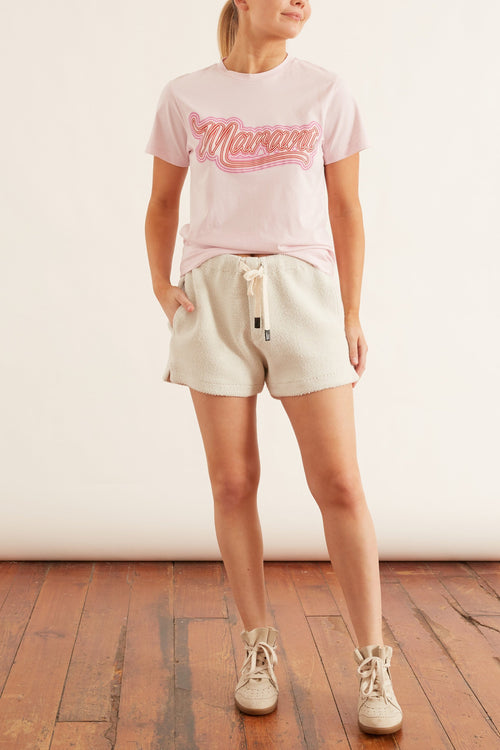 Zaof Neon Printed Tee Shirt in Light Pink