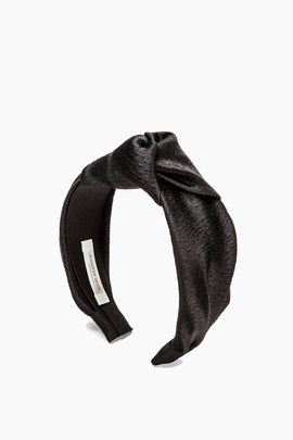 Samaya Hammered Silk Headband in Black