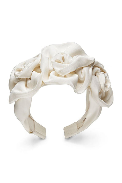 Triple Rosette Faille Headband in Cream