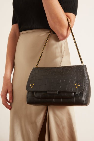 Lulu Medium Bag in Croco Noir Lambskin