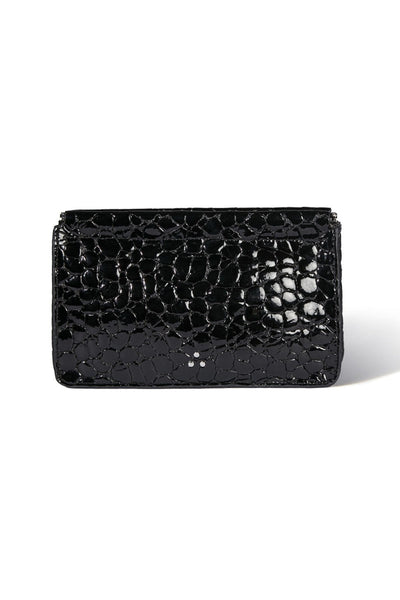 Clic Clac Large Clutch in Croco Vernis Noir