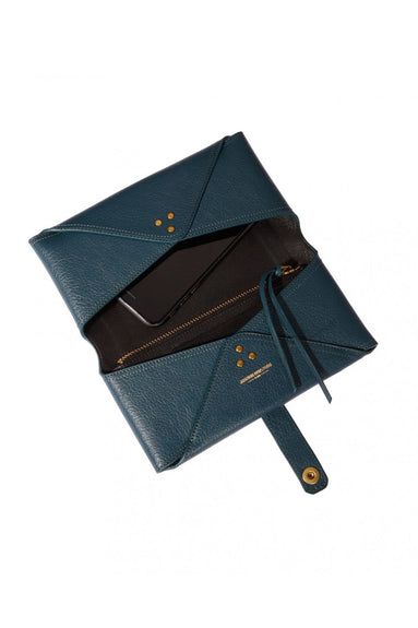Porte Mobile Goatskin Wallet in Canard Blue