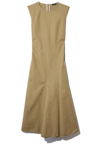 Cotton Linen Canvas Fowley Dress in Khaki