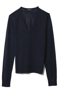 Fine Merinos V-Neck Sweater in Navy