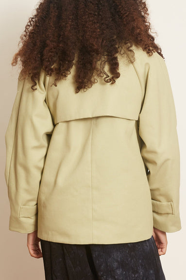Reversible Sheepskin Patchwork Jacket in Green Tea