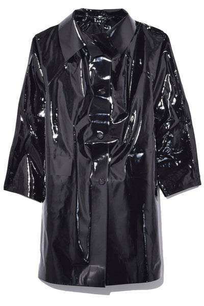 Lacquer Above The Knee Trench in Black