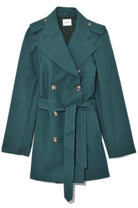 Freja Trench in Hunter Green