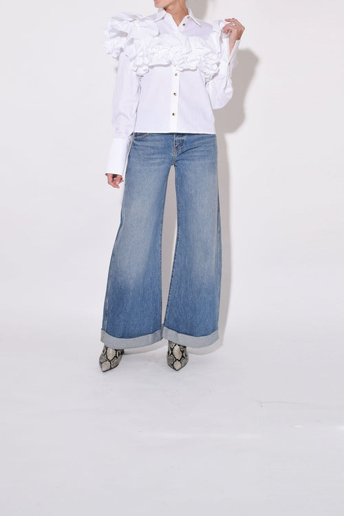 Noelle Wide Leg Rolled Jean in Santa Cruz