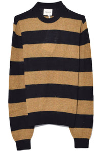 Viola Crew Neck Pullover in Black/Fawn Stripe
