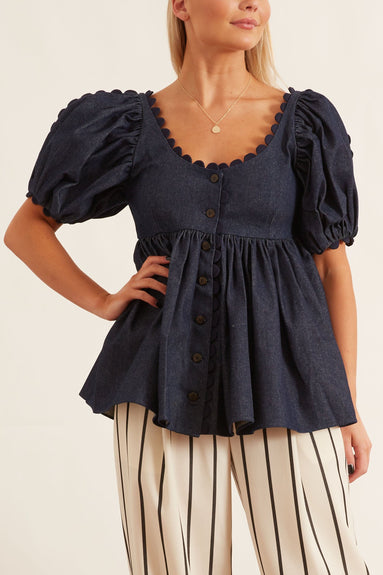 Tessie Blouse in Denim