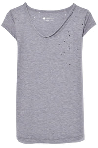 KB Collection Distressed Tee in Heather Grey