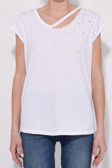 KB Collection Distressed Tee in White