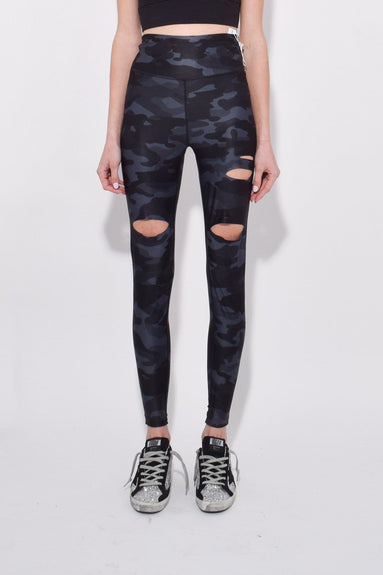 KB Collection Slashed Yoga Pant in Silver Camo