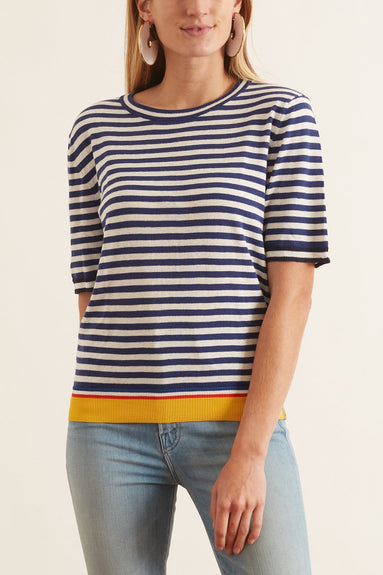 The Corinne Top in Navy/White