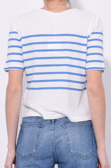 The Crop Top in White/Blue