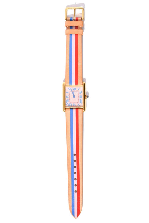 Vintage Watch in Shell Bleu Cerise/Poppy