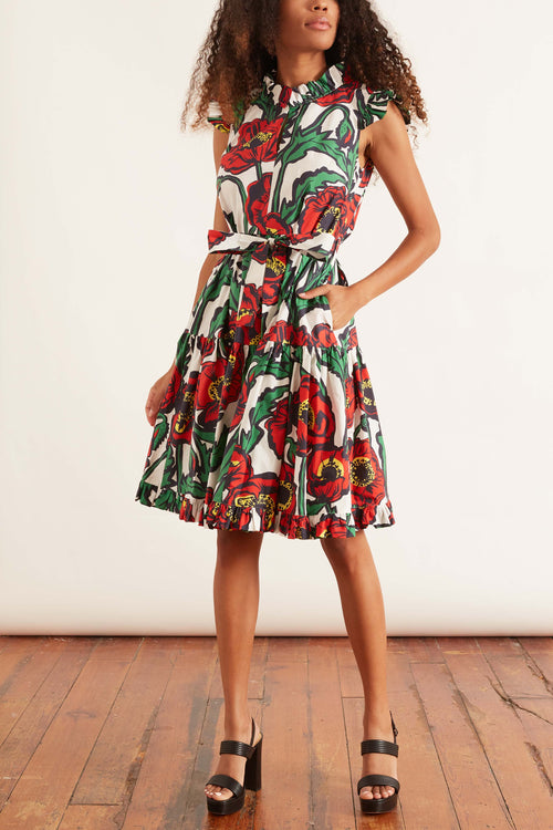Short and Sassy Dress in Big Blooms Bianco