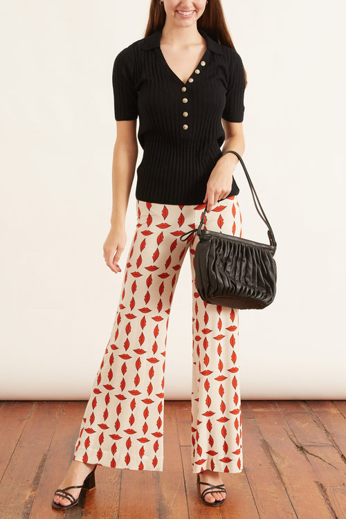 Giudecca Pant in Red Lip Print
