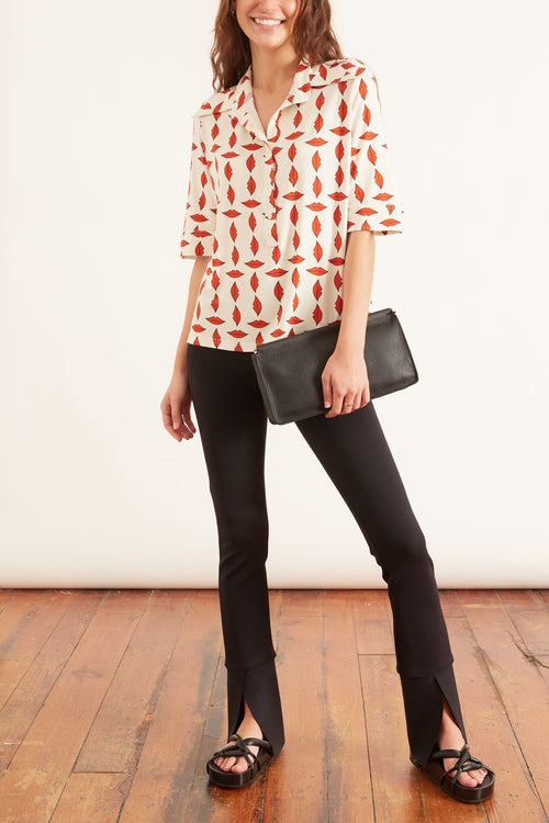 Lauren Top in Red Lip Print