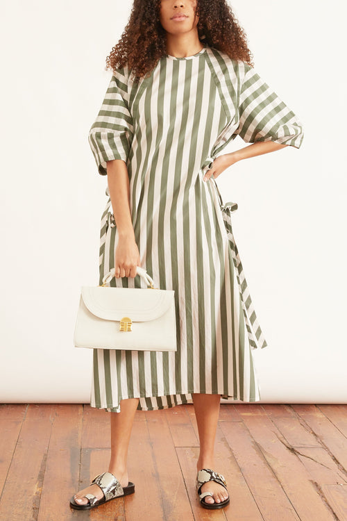 Clara Check and Stripe Cotton Dress in Green