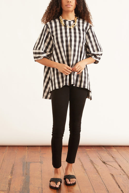 Millie Cotton Top in Bold Black Check