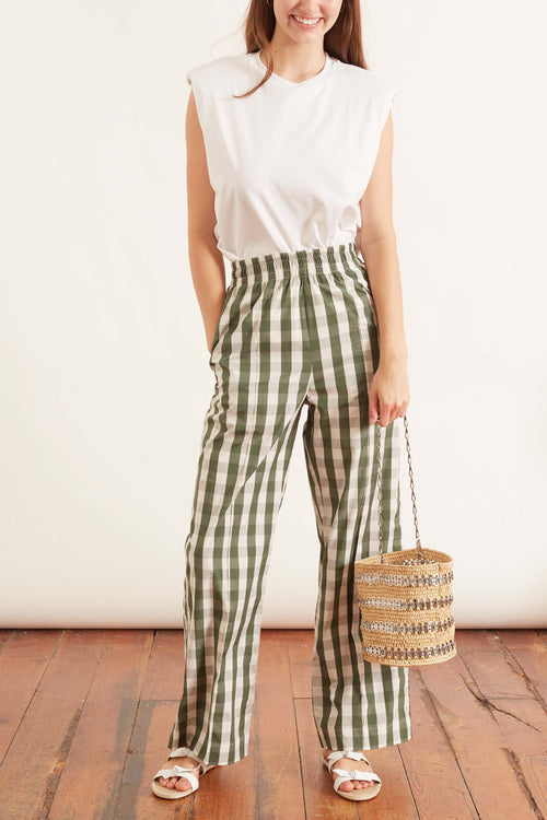 Tillie Cotton Pant in Bold Green Check