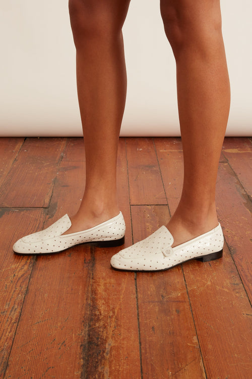 The Angela Androgynous Loafer in White