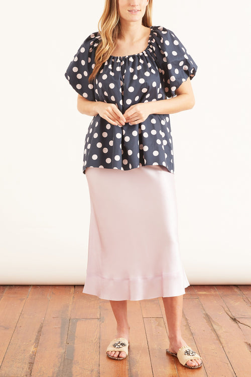 Bea Flutter Top in Navy Spot