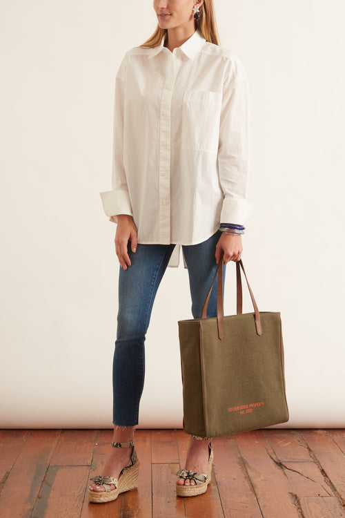 Poplin Long Sleeve Shirt in Natural