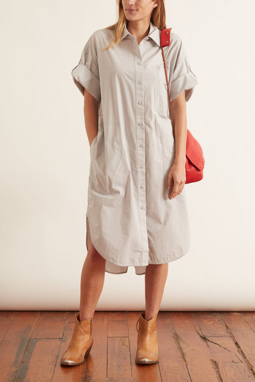 Poplin Short Sleeve Shirt Dress in Steel