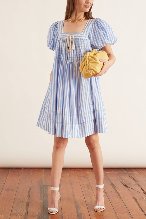 Stevie Mini Puff Dress in Sky