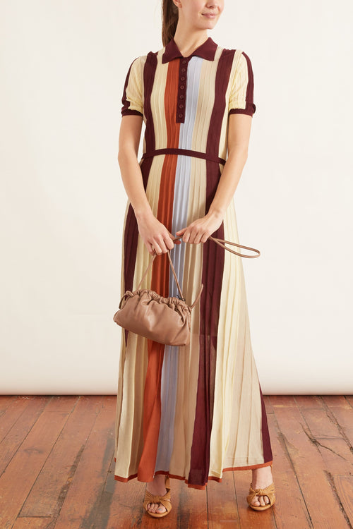 Tencel Rib Maxi Dress in Multistripe