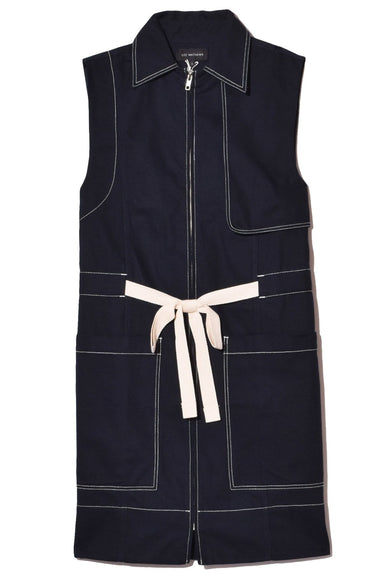 Bonnie Drill Sleeveless Vest in Navy
