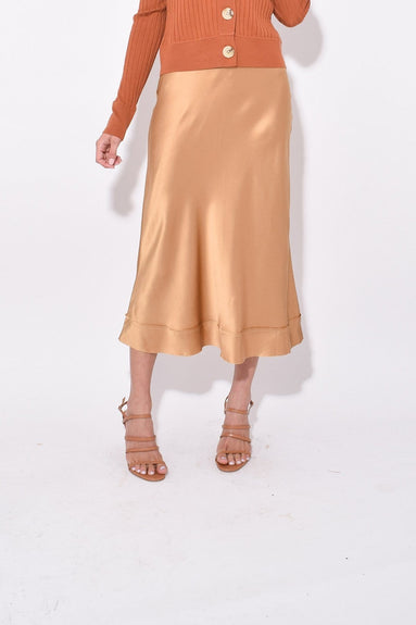 Stella Silk Satin Skirt in Amber