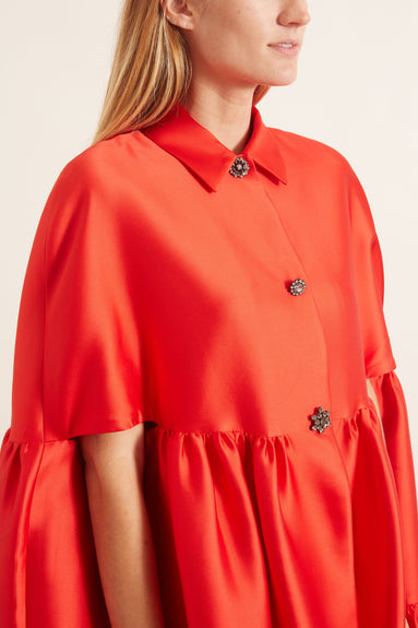 Duchess Satin Flounce Hem Cape Dress in Scarlet